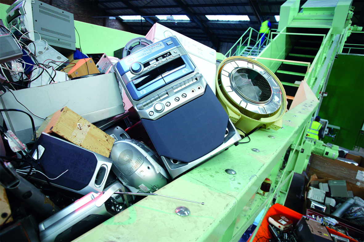 Recycling Plants For Electrical And Electronic Scrap Circuit Board On Printed Blue Industrial Input