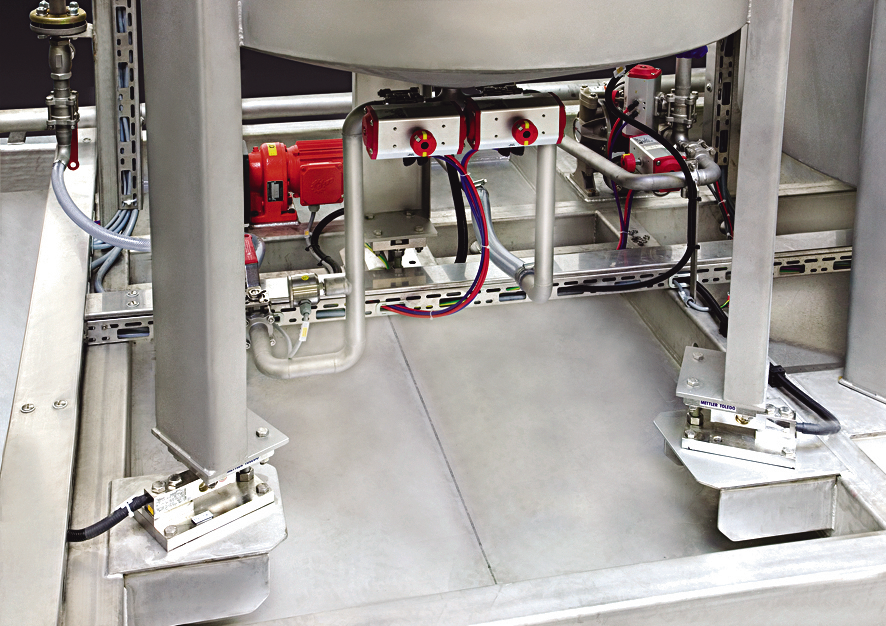 Recipe control by gravimetric load cells
