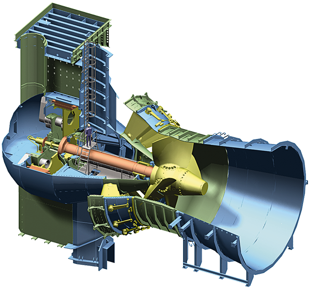 Schematic 3D-drawing of Bulb turbine for HPP Iffezheim, Germany