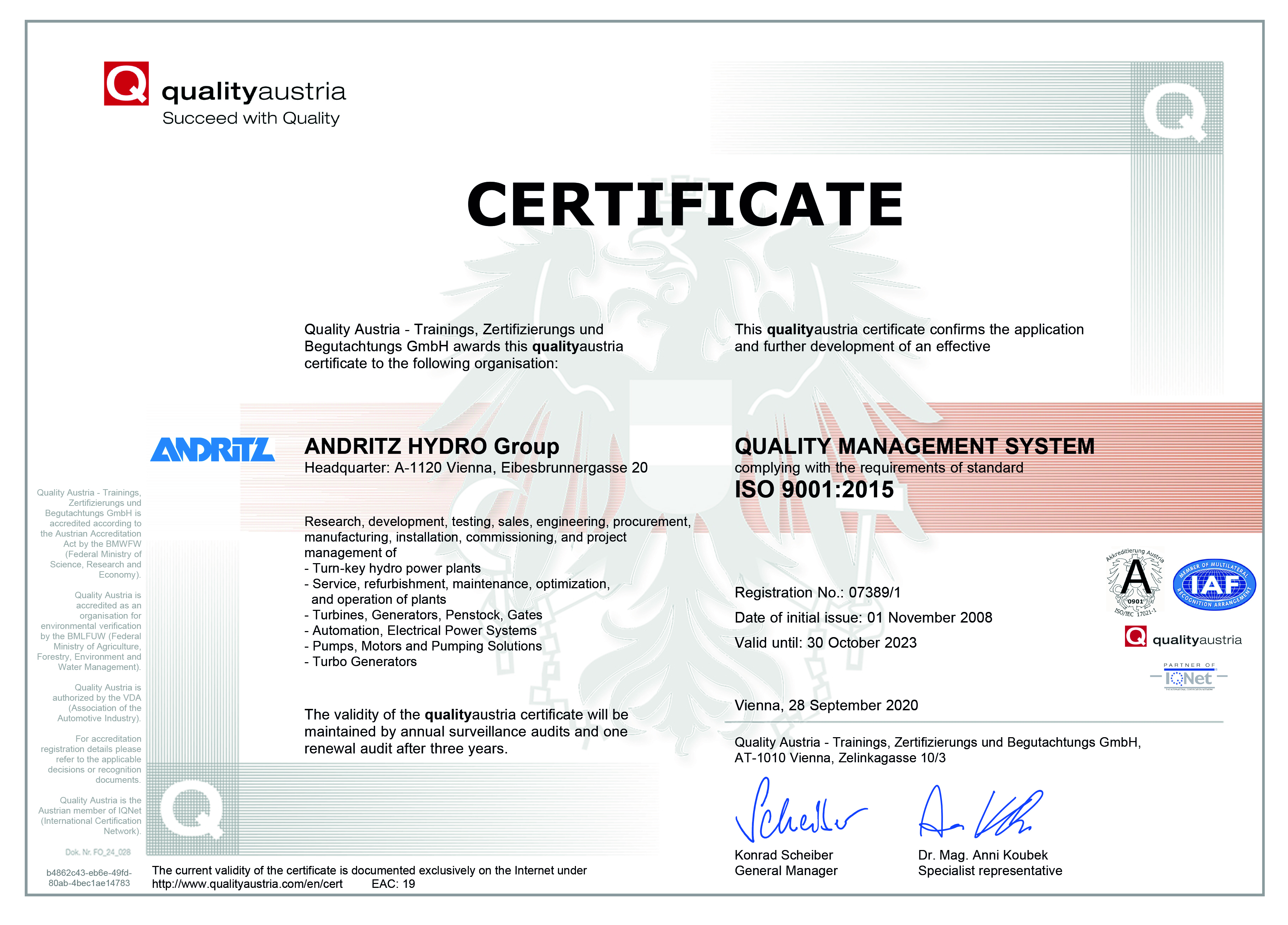 ANDRITZ HYDRO Group ISO 9001 Certificate