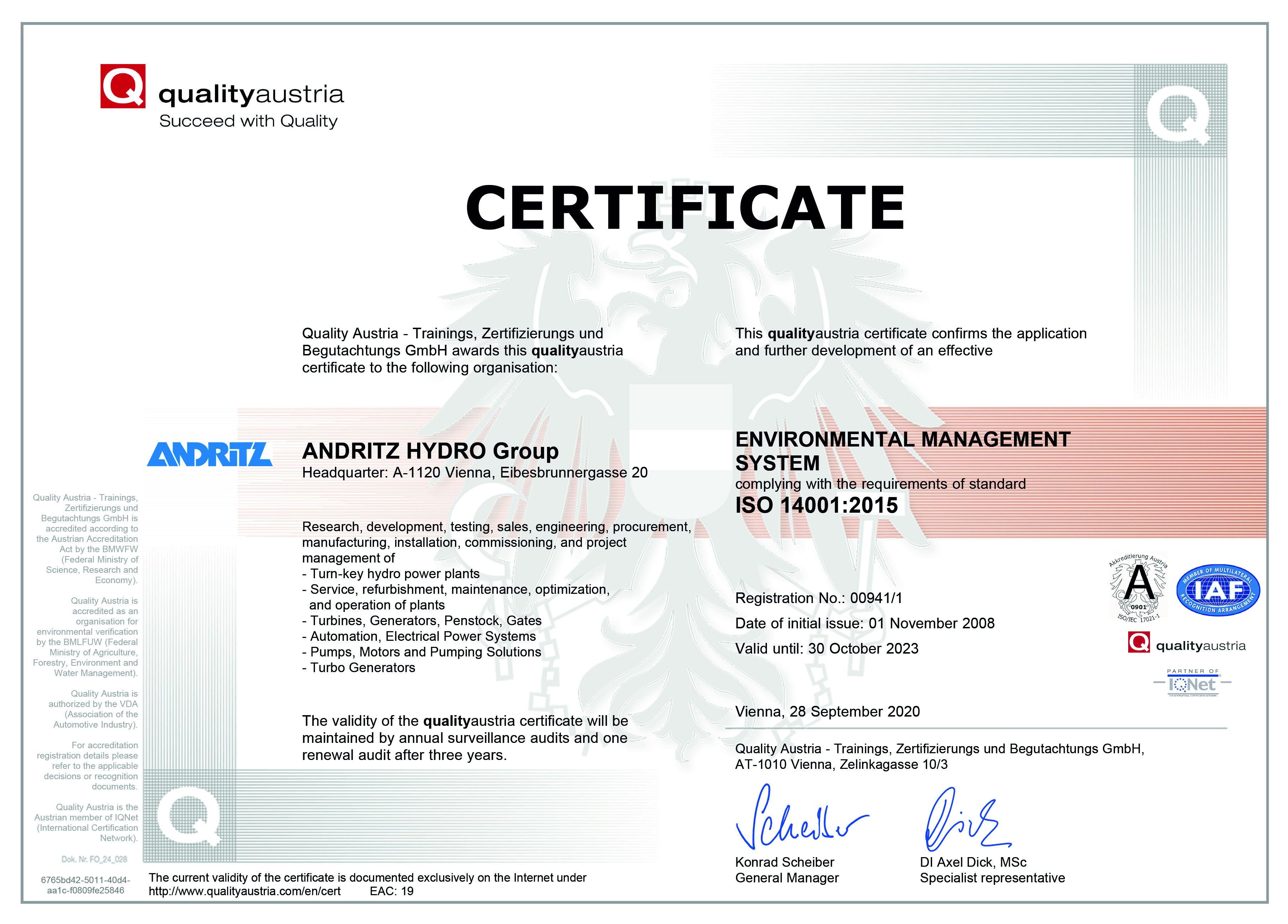 ANDRITZ HYDRO Group ISO 14001 Certificate