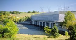 View of the hydropower station E.B. Campbell, Canada
